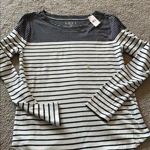 Loft black and white stripe top